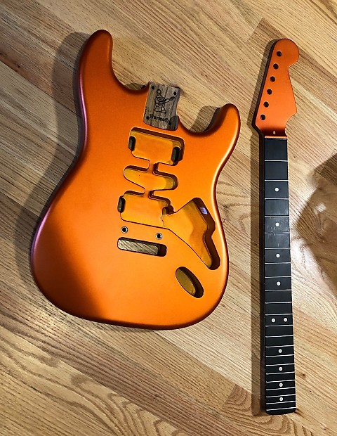 Warmoth Stratocaster replacement body and neck 2018 Candy Tangerine Satin -  roasted
