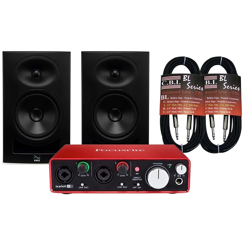 Focusrite Scarlett 2i2 2nd Gen USB Audio Interface, Bundle, with Kali Audio  LP-6 Studio Monitors