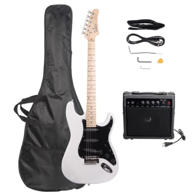 Glarry GST Electric Guitar White w/ 20W Amplifier for sale
