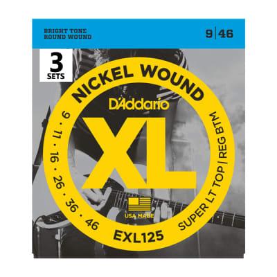 D'Addario EXL125-3D Nickel Wound Electric Guitar Strings Super Light Top / Regular Bottom Gauge 3-Pack