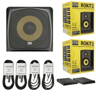 New KRK ROKIT 5 Generation 4 Powered Studio Monitors + KRK 12S Active Powered Subwoofer Bundle
