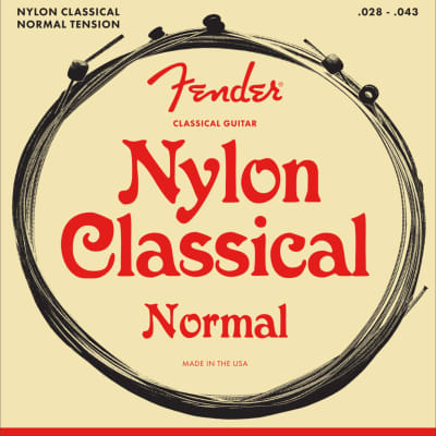 Fender Nylon Acoustic Strings, 130 Clear/Silver, Ball End, Gauges .028-.043, (6)