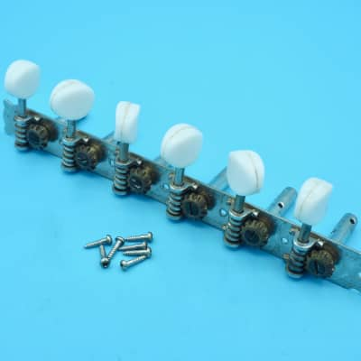 1960s Teisco Vintage Tuning Machines 6-in-line Strip Tuners Chrome w/ Mounting Screws, Japan
