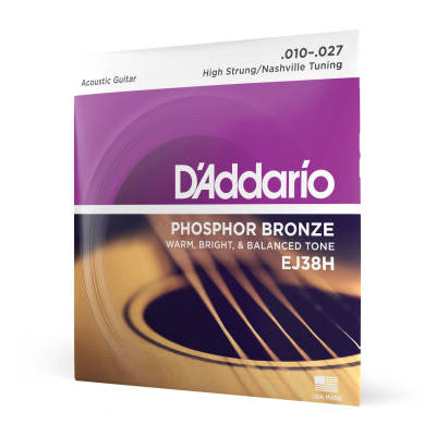 D'Addario #EJ38H - Nigh Strung/Nashville Tuning Phosphor Bronze Acoustic Strings, 10-27
