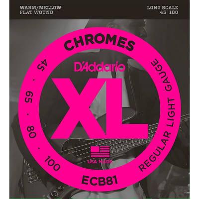 D'Addario ECB81 XL Chromes Flatwound Long Scale Bass Guitar Strings, Light Gauge