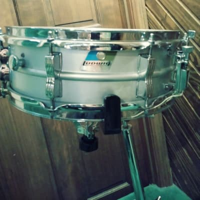 "Ludwig L-404 Acrolite 5x14"" Aluminum Snare with Rounded Blue/Olive Badge 1980s Serial#2069731"