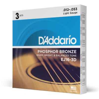 D'Addario #EJ16-3D - Phosphor Bronze LIGHT 12-53 - 3 Pack