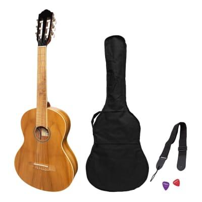Martinez 'Slim Jim' 3/4 Size Electric Classical Guitar Pack with Pickup/Tuner (Jati-Teakwood) for sale