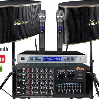 IDOLpro 1300W Karaoke System With Amplifier, Speakers and Dual Rechargeable Wireless Microphones