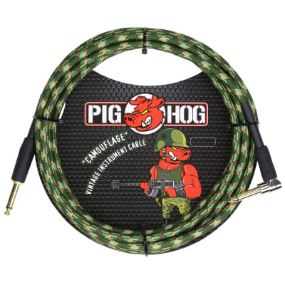 """Pig Hog """"Camouflage"""" Vintage Instrument Cable, 10ft Right Angle (PCH10CFR)"""