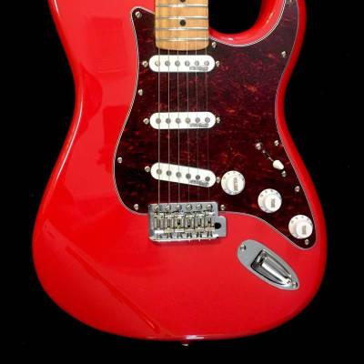Vintage V6MFR Firenza Red Strat Style Electric Guitar W/Maple Fretboard