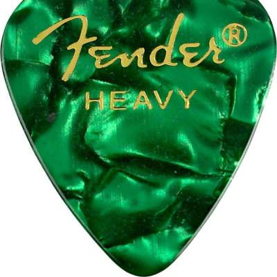 Fender 351 Shape Premium Picks, 12 Pack, Green Moto, Heavy 098-0351-971