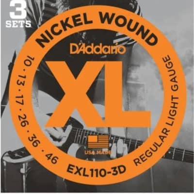 D'Addario EXL110-3D Nickel Wound Electric Guitar Strings, Regular Light, 10-46, 3 Set