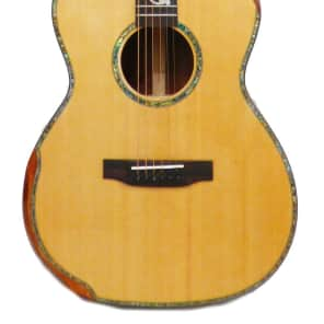Aiersi AAA Solid Spruce Top OM Acoustic Guitar - Scoop Cutaway & Rosewood Armrest - Natural