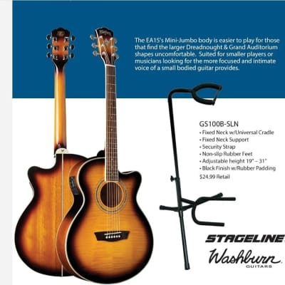 Washburn EA15ATB Festival Series Flame Maple Mini Jumbo 6-String Acoustic-Electric Guitar w/Stand