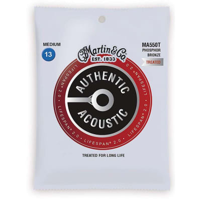 New Martin MA550T Authentic Acoustic Lifespan 2.0 Acoustic Guitar Strings, Medium .013-.056