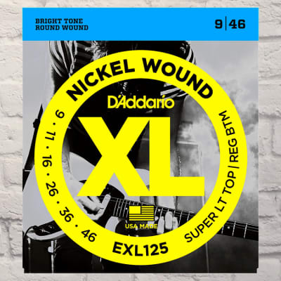 D'Addario EXL125 Super Light Top Regular Bottom Nickel Wound Electric Guitar Strings 9-46