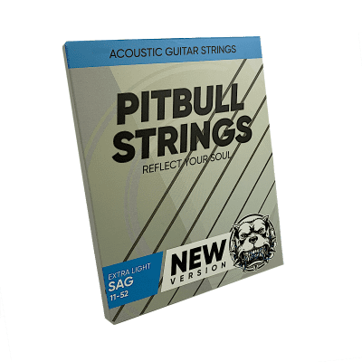 Premium Acoustic Guitar Strings 11-52  - Pitbull Strings Silver Series - SAG-L
