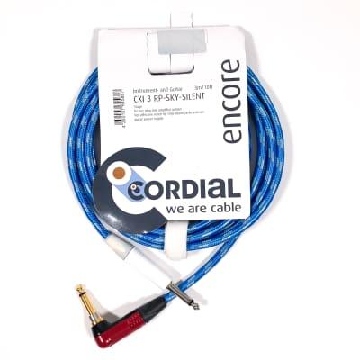 "Cordial 3m /~10ft Inst. Cable, 1/4"" Neutrik Conns. w/ RA silentPLUG , CXI 3 RP-SKY-SILENT (Germany)"