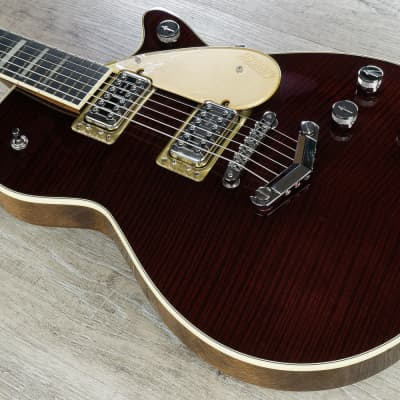 Gretsch G6228FM Players Edition Jet BT V-Stoptail Flame Maple Top Rosewood Board Dark Cherry