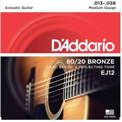 D'Addario EJ12 80/20 Bronze Acoustic Guitar Strings: 13-56 (Medium)