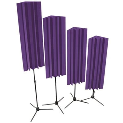 Auralex S-MLENPUR Stand-Mounted LENRD Bass Traps in Purple: 4- 12x12x17 Triangular; 48 Long with 4- Stands