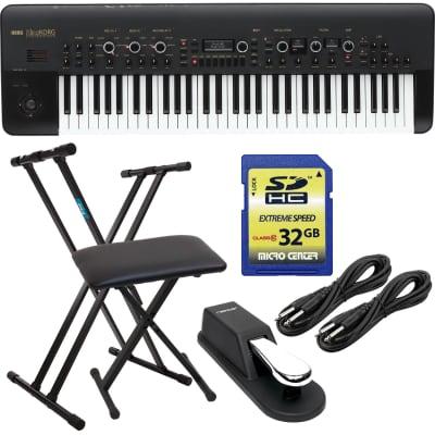 Korg KingKORG 61-Key Analog Modeling Synthesizer, Keyboard Stand, Bench, Sustain Pedal, (2) 1/4 Cable, SD Card 32GB Bundle