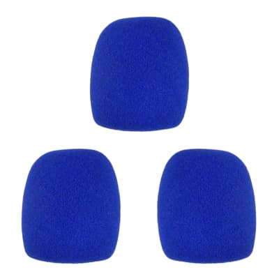Microphone Windscreen - 3 Pack - Blue - Fits Shure SM58, Beta 58A & Similar - Vocal Mic Cover New