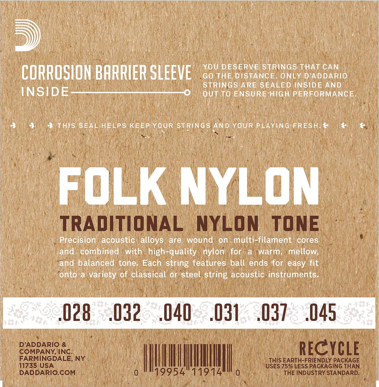 D'Addario EJ32C Folk Nylon Guitar Strings, Ball End, Silver Wound/Clear Nylon T