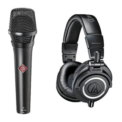 Neumann KMS 105 - Live Vocal Condenser Mic (Black) With Audio-Technica ATH-M50x Professional Monitor Headphones, Black