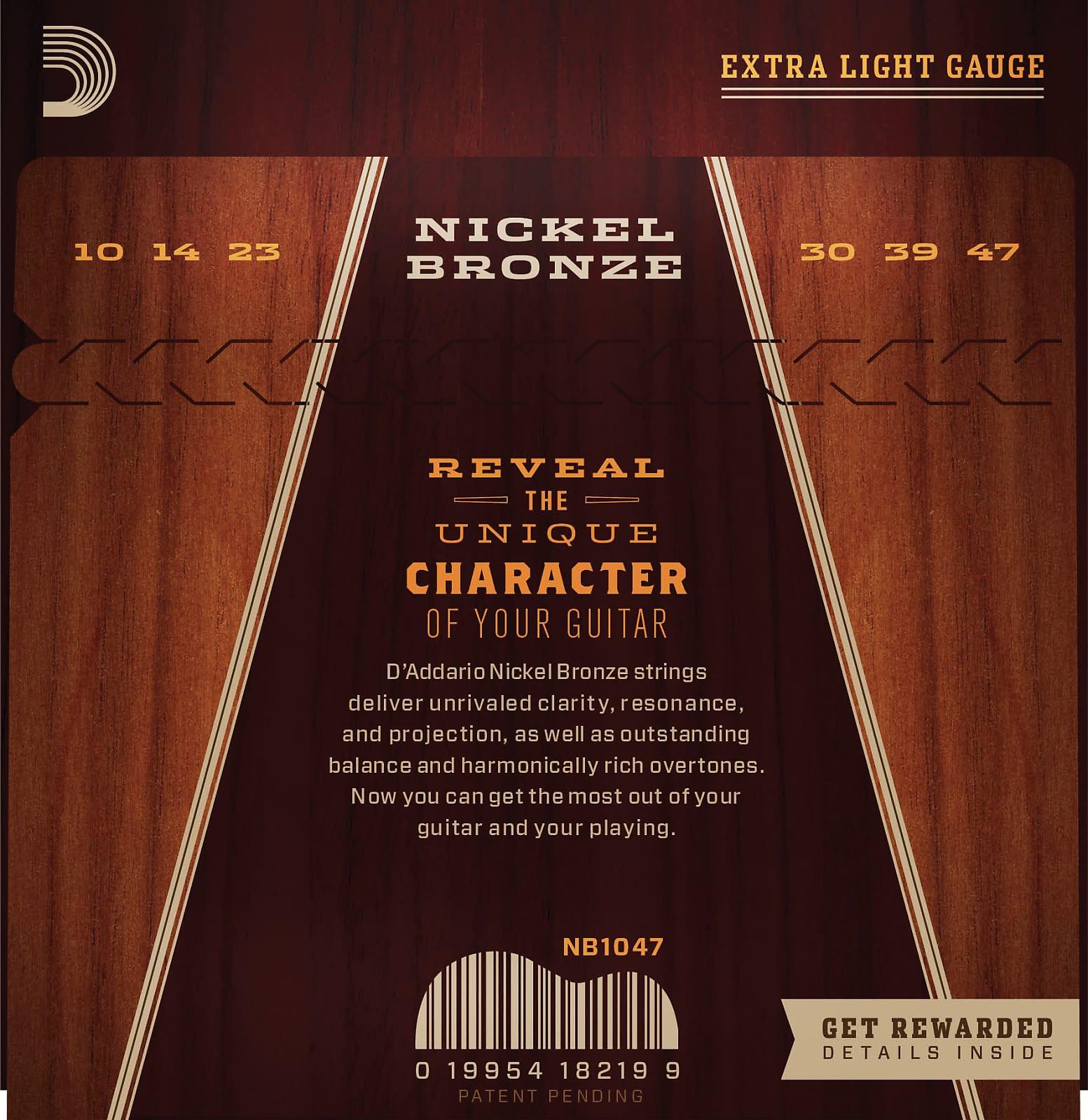D'Addario NB1047 Nickel Bronze Acoustic Guitar Strings, Extra Light, 10-47
