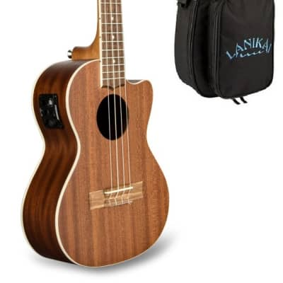 Lanikai Mahogany Cutaway Electric Tenor Ukulele +FREE Deluxe Padded Bag Included | Authorized Dealer
