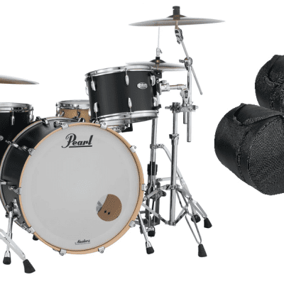 Pearl Masters Complete 24x14_13x9_16x16 Matte Black Mist Maple Drums +FREE GigBags Authorized Dealer