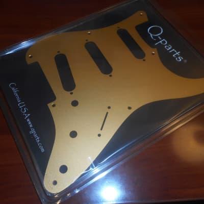 Q-Parts '57 Strat Pickguard, S/S/S - GOLD ANODIZED for sale