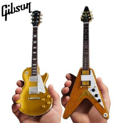 Axe Heaven Gibson Twin Pack Les Paul '57 Gold Top w/ Flying V Korina Mini Guitars