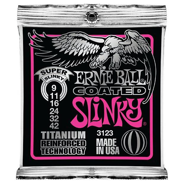 ernie ball 3123 9 42 coated super slinky guitar strings reverb. Black Bedroom Furniture Sets. Home Design Ideas