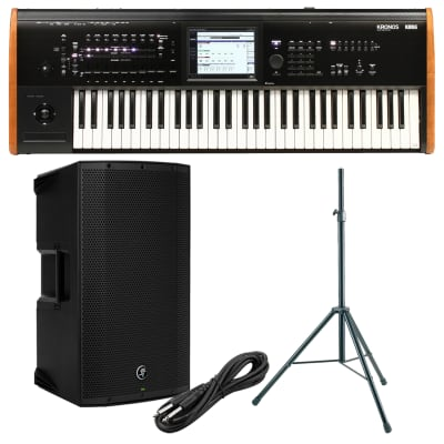 Korg Kronos 2 61-key Synthesizer Workstation, Mackie Thump12A Speaker, Speaker Stand, 1/4 Cable Bundle