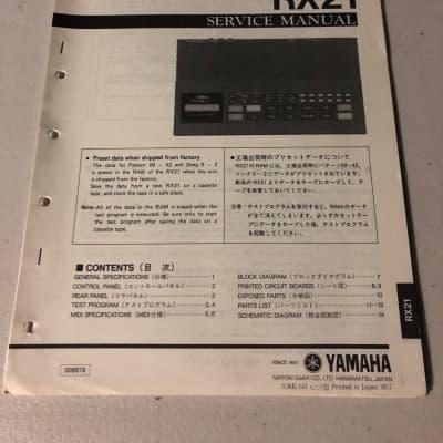 Yamaha  RX21 Digital Rhythm Programmer Service Manual 1985
