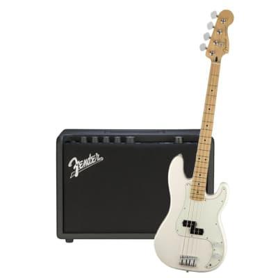 Fender Player Precision Bass Polar White Maple Neck & Fender Rumble 25 Bundle for sale
