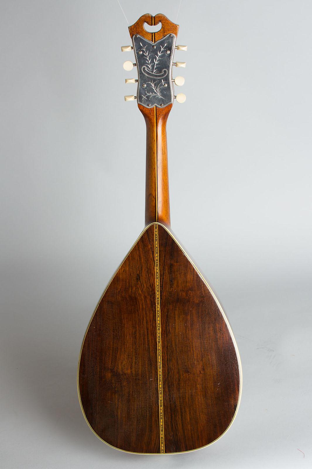 Stahl Flat Back, Bent Top Mandolin, made by Larson Brothers,  c. 1917, ser. #25853, black chipboard case.