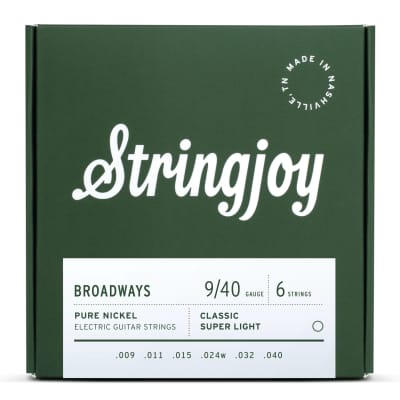 Stringjoy Broadways | Classic Super Light Gauge (9-40) Pure Nickel Electric Guitar Strings