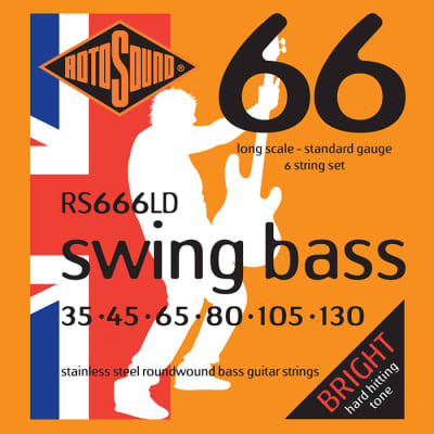Rotosound Stainless Steel Roundwound Standard 6 String Bass 35-130 RS666LD