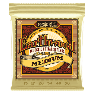 Ernie Ball 2002 Earthwood Medium 80/20 Bronze Acoustic Strings, .013 - .056