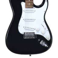 Fishbone BLACK Strat Style Guitar Model FTOS-100-BLACK with Blue Tweed Guitar Case Red Interior. for sale