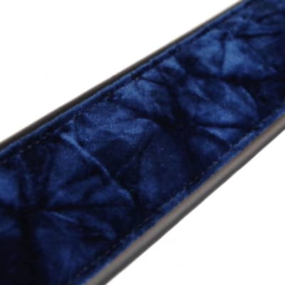 "LM 3"" Crushed Velvet BLUE nylon guitar strap NEW - Soft & Comfortable"