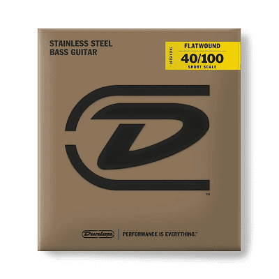 Dunlop DBFS40100S Stainless Steel Short Scale Flatwound Bass Strings (40-100)