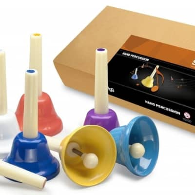 Stagg Model HB-SET - Set of 8 Hand Bells - Various Colors - 8 Note Set