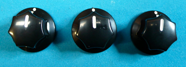 guitar effects pedal set of 3 black control knobs fits many reverb. Black Bedroom Furniture Sets. Home Design Ideas