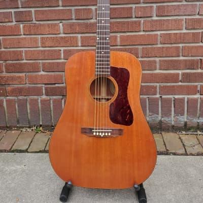 Vintage 1972 Guild D-25 Flat Top Dreadnought Acoustic Guitar~Natural Mahogany w/Original Hard Case