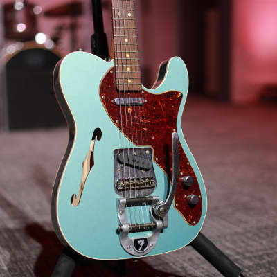 Fender Custom Shop '60s Reissue Telecaster Thinline Journeyman Relic 2019 Super Faded Teal Green Metallic for sale